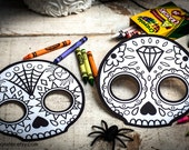 Halloween Printable coloring mask for kids cute skull day of the dead Dia de los Muertos sugar skull coloring page halloween activity