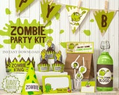Zombie Party Printable kit Birthday decor banner flags bottle wrap cupcake toppers graveyard monster theme DIY green party favors download