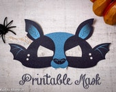 Printable Halloween Bat Mask for kids DIY Halloween activity instant download print at home mask with wings and fangs
