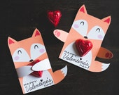 Woodland Fox Classroom Candy Holder valentines cute animals hug individual candy valentine card fox Valentine's day chocolate holders
