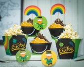 St. Patrick's Day Party printable cupcake decor kit saint patricks day leprechaun shamrock print at home classroom decor cupcake wrappers