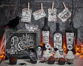 Halloween Printable Party Decor kit with cupcake wrapper and cupcake toppers, apothecary bottle labels, art print, party favor coffin boxes