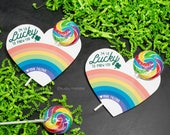 St. Patrick's Day Printable DIY Heart Rainbow Instant Download Sucker Lollipop Holder Lucky to know you card hearts Gift Saint Paddy's Day