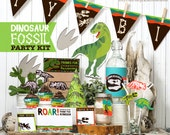 Dinosaur Fossil Party Printable kit Birthday decor banner flags bottle wrap cupcake toppers science dino theme DIY party favors download