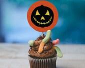 INSTANT DOWNLOAD Halloween cupcake topper print at home multicolor pumpkins jackolantern faces