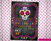 Sugar Skull Day of the Dead Birthday or Halloween Party Invitation Custom printable digital file invitation bright colors girly punk