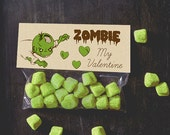 INSTANT DOWNLOAD Zombie Valentine Treat Toppers Zombie My Valentine craft candy bag topper valentine's day pun funny boy valentines dead