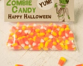INSTANT DOWNLOAD Halloween Zombie candy Treat Topper Candy Bag Topper Label homemade candy trick or treat bag boy's monster printable top