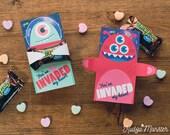 Valentines Alien Hugger Milky Way Space Monster Card INSTANT Download valentine printable DIY file Valentine's Day Gift Classroom Valentine