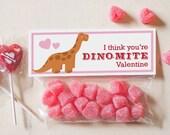 INSTANT DOWNLOAD Printable Cute Dinosaur Classroom Valentines Treat Candy Bag Topper Long Neck brachiosaurus diplodocus dinomite