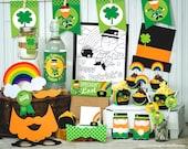 St. Patrick's Day Party printable decor kit saint patricks day leprechaun gren shamrock print at home classroom decor cupcake photo props