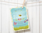 Bug Spring Garden Party Customized Printable kids Birthday Party Invitation/ baby shower Invite butterflies flowers bumble bees caterpillars