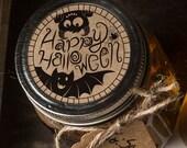 Instant download Halloween mason jar lid label print at home bat monster candy jar gift