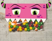 INSTANT DOWNLOAD halloween Pink Monster Face Treat Topper party favor Candy Bag Topper Label homemade candy DIY bag girl monster printable