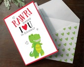 Funny Printable Dinosaur RAWR means I love you in dinosaur T-rex Tyrannosaurus Rex Dino cute INSTANT download Father's day card
