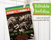 dinosaur fossil party editable invitation boy birthday party printable invitation card file triceratops tyrannosaurus stegosaurus bones