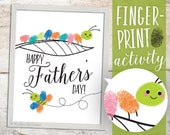 Finger Paint Art Father's Day Printable Caterpillar Butterfly DIY Kid's Art Activity for Dad Fingerprints Ink Pad 8x10 inch Art work Print