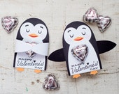 Printable cute penguin Candy or gift Hugger valentines animals hug individual candy valentine card cute Valentine's day chocolate holders