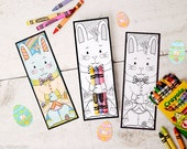 Easter Bunny printable coloring page crayon hugger colored pencil holder Easter classroom activity party favors handouts for kids