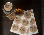 Apple Pie Moonshine set of 20 round 2inch mason jar lid sticker labels kraft brown textured paper rustic country cottage chic vintage look