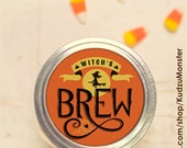 Instant download Halloween mason jar lid witch brew label print at home bat monster candy jar gift moonshine coffee cocktail juice punch