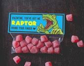 Raptor Dinosaur Valentine Treat Topper INSTANT DOWNLOAD printable print at home valentine's day candy bag label top boy valentine funny