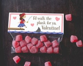 INSTANT DOWNLOAD Printable treat topper valentine's day pirate girl ocean shark valentine candy bag classroom ship sea waves sword funny