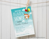 Woodland Fox theme Customized Printable Baby Shower Party Invitation gender neutral baby shower fox and balloons