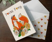 "INSTANT DOWNLOAD Printable Valentines ""You're Foxy"" Folded Card Aniversary, Love you card, Valentines"