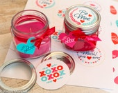 INSTANT DOWNLOAD Printable Cute Valentine Mason Jar Lid Label and Heart Hanging Gift Tag. great for candy gift, candle gift, jams & jellies