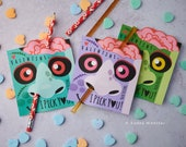 Funny Zombie Nose Picking Valentines Classroom Pencil Holder valentines valentine card Valentine's day pixie sticks I pick you