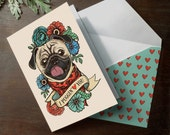"Funny Printable Pug "" I Puggin' Love You "" valentine's day or anniversary romantic love card with coordinating printable envelope valentine"