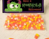 INSTANT DOWNLOAD Halloween Monster Treat Topper Candy Bag Topper Label homemade candy trick or treat bag cute monster alien printable top