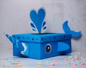 Narwhal Valentine Box Printable Decor Kit 3D horn, water spout, whale tail, cute and unique mailbox for school valentine's day cards