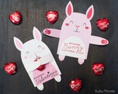 Woodland Bunny Rabbit Classroom Candy Holder valentines cute animals hug individual candy valentine card Valentine's day chocolate holders