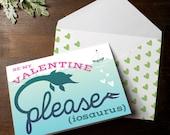 Funny Printable Dinosaur plesiosaur plesiosaurus Dino Valentine INSTANT DOWNLOAD pun Valentine's Day card please be my valentine