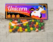 INSTANT DOWNLOAD Halloween Unicorn Funny Treat Topper Candy Bag Topper Label homemade candy trick or treat bag girly halloween printable