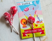 INSTANT DOWNLOAD Printable Classroom valentines circus elephant lion seal big top print at home sucker holder cards