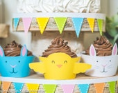 Easter printable cupcake wrappers cute easter animals for kids baby chick and easter bunny yellow blue and white DIY cupcake kit instant