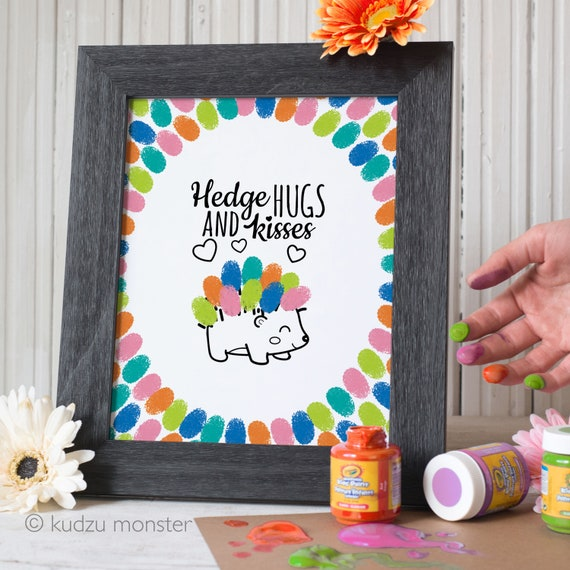 Mother's Day Finger Paint Art Printable Hedgehog Hedge