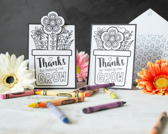 Coloring Mother's Day Card INSTANT DOWNLOAD Flower Pot
