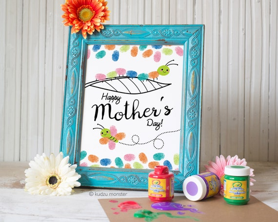 Finger Paint Art Mother's Day Printable Caterpillar