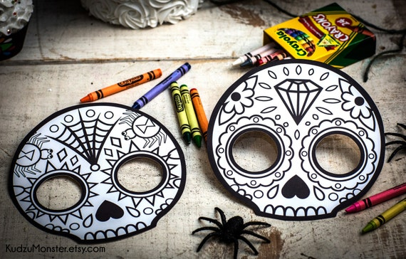 - Halloween Printable Coloring Mask For Kids Cute Skull Day Of Etsy
