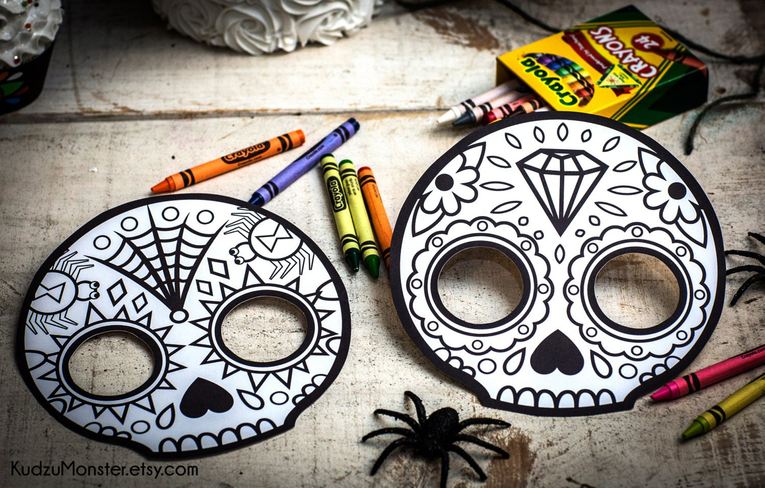 Halloween Printable Coloring Mask For Kids Cute Skull Day Of Etsy