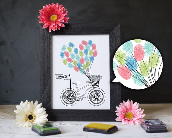 Mother's Day Finger Paint Art Printable Balloons and