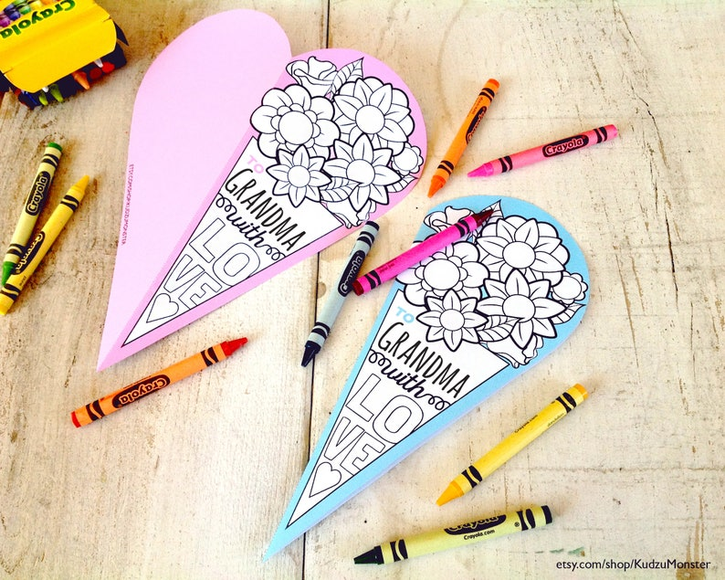Instant Download Mother S Day Grandma Card Coloring Page Etsy