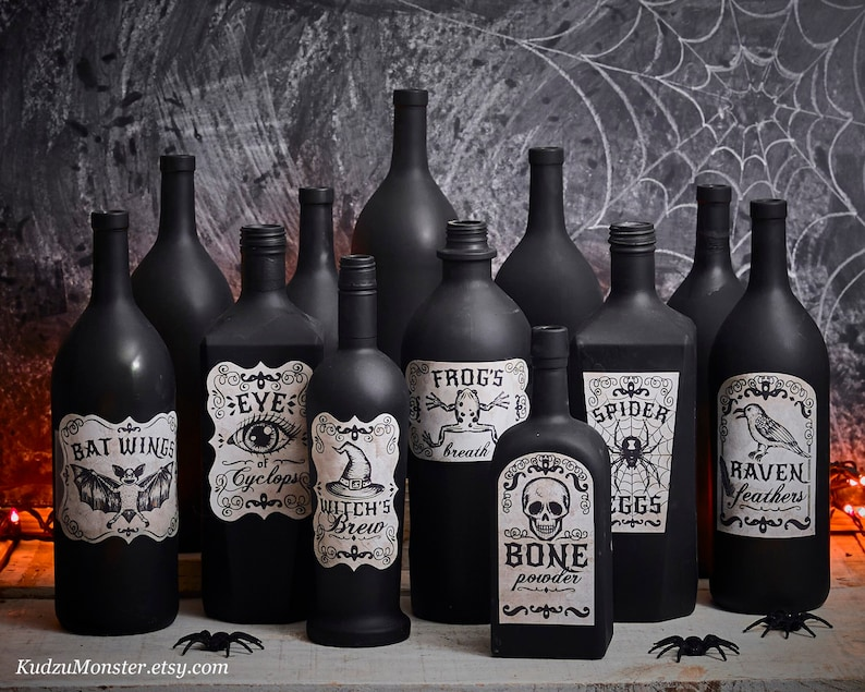 Printable Apothecary Labels for halloween vintage looking hand image 0