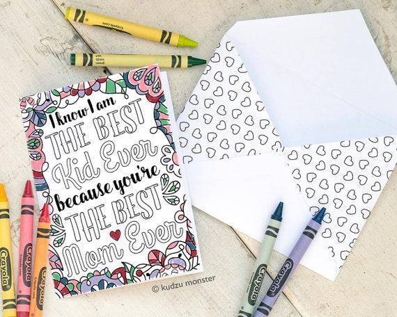 Färbung Mutter Tag Karte INSTANT DOWNLOAD beste Mama immer