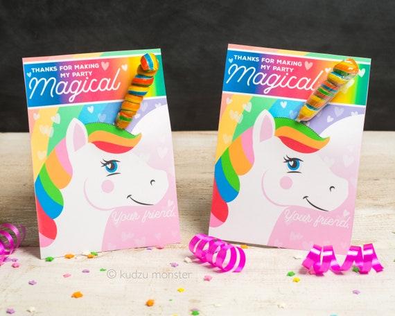 Unicorn Horn Birthday Party Favor Cards Twisty Rainbow Lollipop