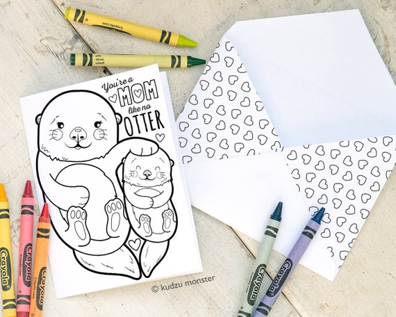 INSTANT DOWNLOAD Mother's Day Card Cute Otter Coloring